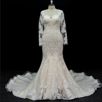 long sleeves customize made lace application bridal gown wedding dresses mermaid bridal dresses