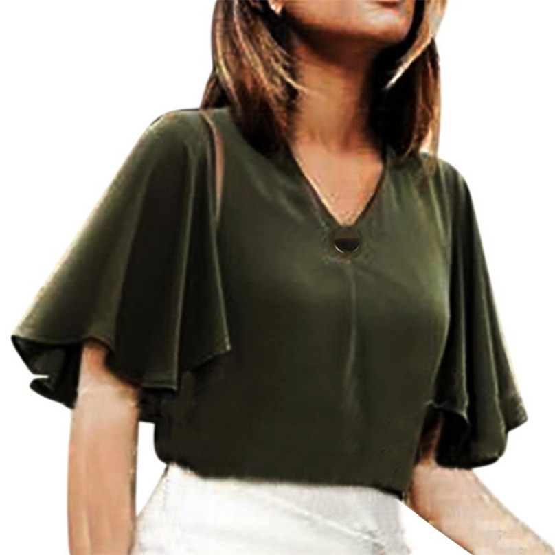 2017 Pure Green Blouse Blusa Chiffon Women Office Short Flare Sleeve Blouses Blusas Femininas Formal Ladies Tops L-4xl Ff&r4