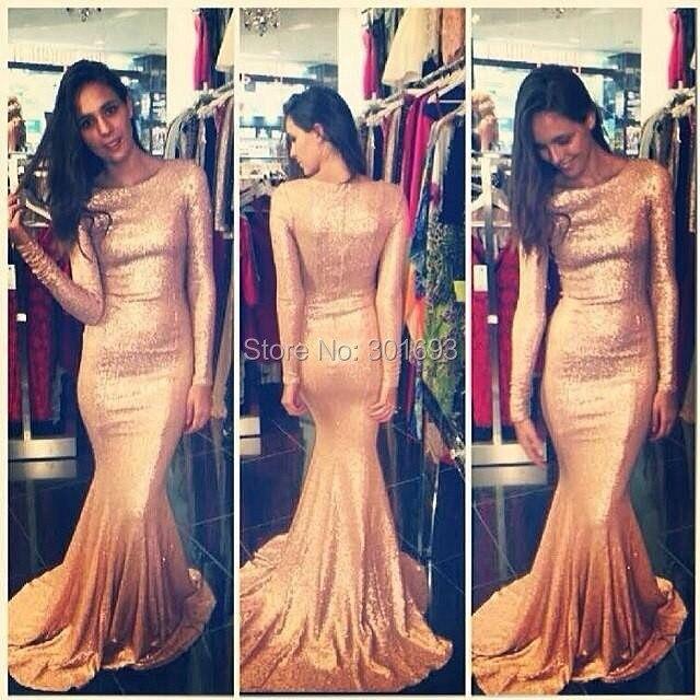 ONE177 Elegant Mermaid Gold Bling Bling Long Sleeve Sequin Dresses ... 5114228b9cba