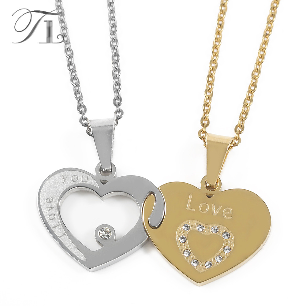 TL I Love You  Letters Heart Puzzle Pendant Necklace Gold&Silver Stainless Steel Couple Lovers Half Heart Necklaces & Pendants yoursfs love you forever white gold plated heart in circle pendant necklace with austrian crystal open heart silver necklace wo