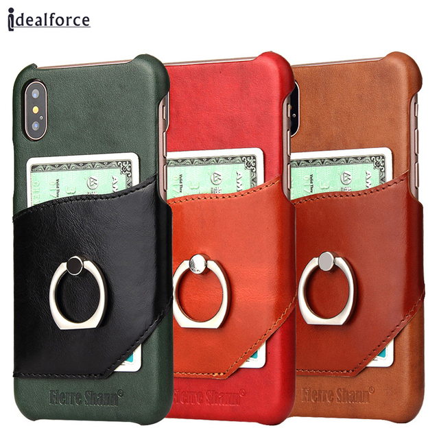 uk availability f6fd7 9a884 US $13.08 23% OFF|For iPhone X Genuine Leather Back Cover Case with Card  Slot Ultra Slim Wallet Cases for 6 7 8 Plus Ring holder For Samsung  Note8-in ...