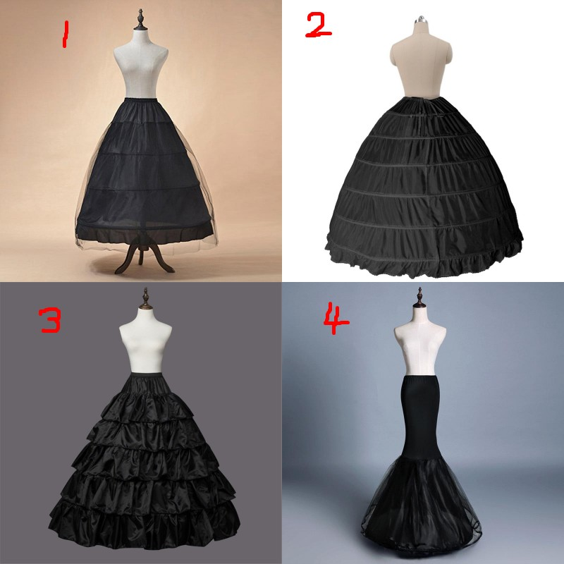 Black Hoop Crinoline Long Wedding Petticoat Ball Gown Underskirt Mariage Skirt Bridal Accessories 2020