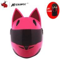 NITRINOS אישיות Moto Capacete קסדת אופנוע נשים אופנה אופנוע קסדת קסדת חתול שחור צהוב לבן ורוד
