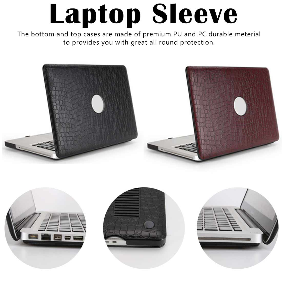 PU Leather Cover Laptop Case for MacBook Air Retina Frosted protective shell crocodile pattern pc Laptop accessories