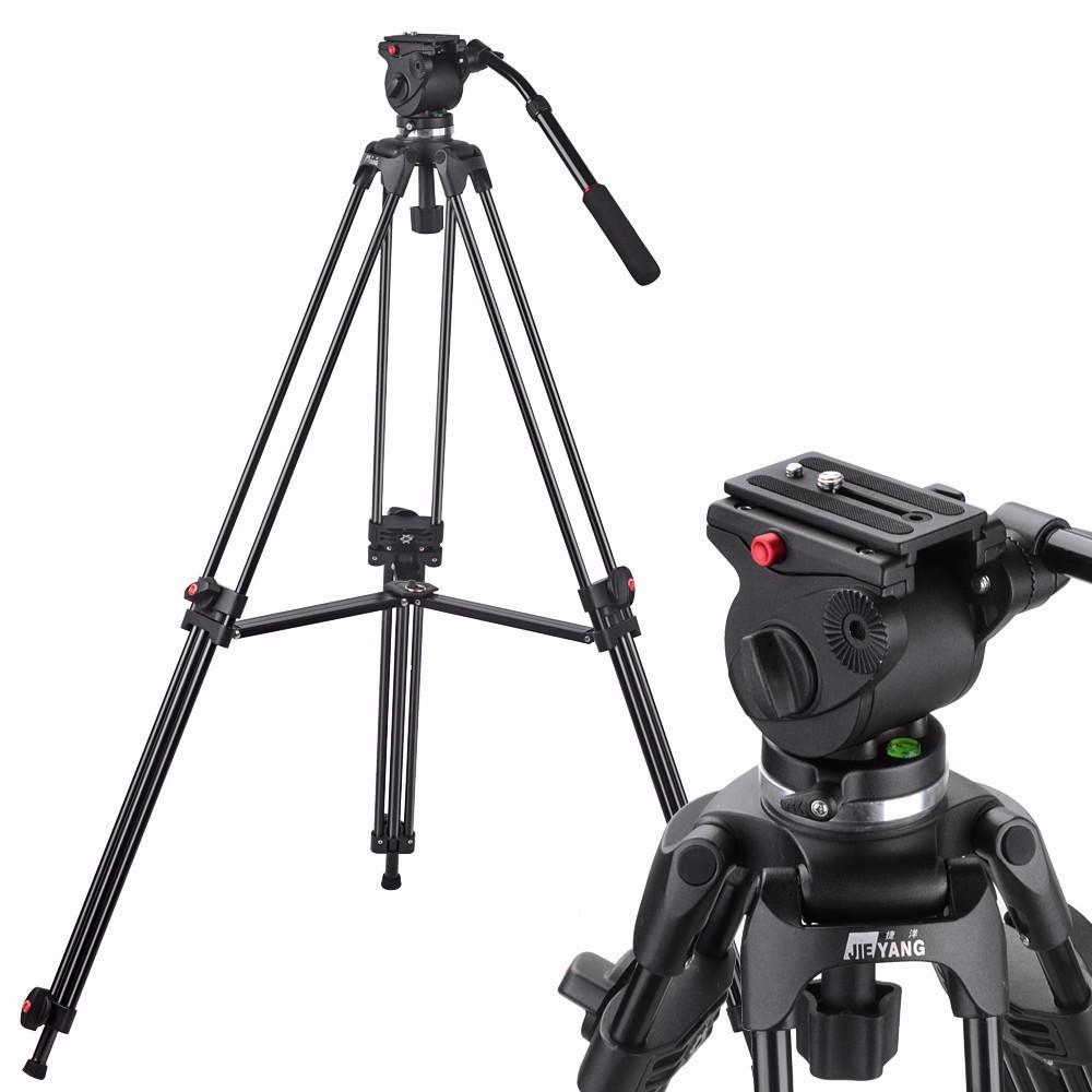 Prix pour JY0508A JIEYANG Caméra Caméscope Trépied Professionnel pour Vidéo Stand/DSLR Vidéo Trépied/Tête Fluide D'amortissement/1610mm Max Hauteur