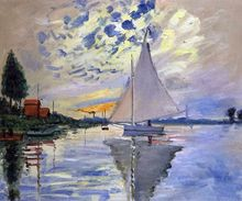 Sailboat at Le Petit-Gennevilliers by Claude Monet Handpainted