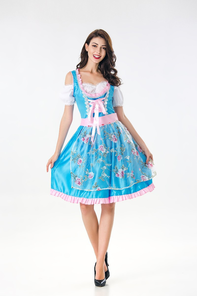 New Oktoberfest Beer Girl Costume Maid Wench French Bavarian Short Sleeve Fancy Dress Dirndl For Adult Women Cosplay Dress