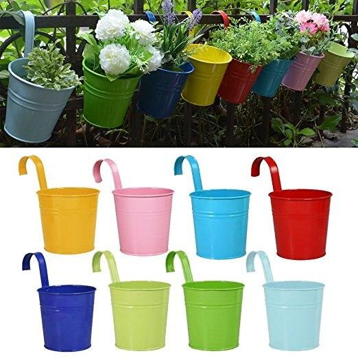 8Psc lot Hanging Flower Pots Garden Pots Balcony Planters Metal Iron Bucket Flower Holders With