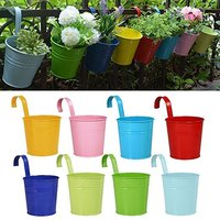 8Psc Lot Hanging Flower Pots Garden Pots Balcony Planters Metal Iron Bucket Flower Holders With