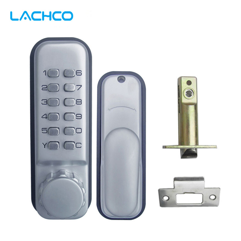 LACHCO Mechanical Code Door Lock Digital Machinery Keypad Password Entry lock Stainless Steel Latch Zinc Alloy Silver L17019 bqlzr 8 inch hairline finish silver security door slide flush latch bolt