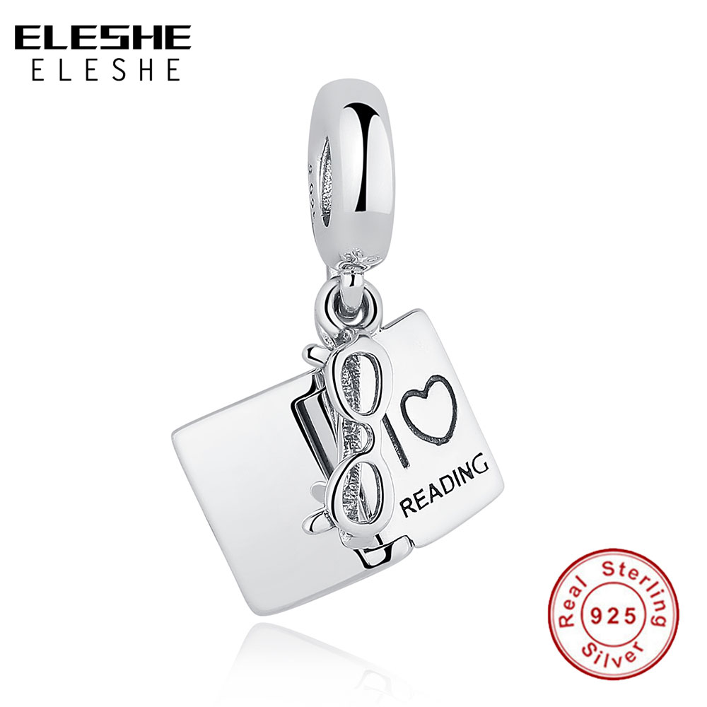 ELESHE Original 925 Sterling Silver Charms Fit Authentic Charm Bracelets Fashion Jewelry DIY I LOVE READING Book Charm Beads