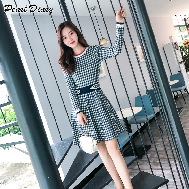 Sweater Dress Women 2019 Spring Autumn Plaid Long Sleeve A-line Mini Dress Casual Slim Knitted Party Evening Winter Dresses