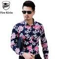 Kirin fuego Para Hombre Vestido de Diseñador de la Camisa de Flores 2017 5XL 6XL camisas Casuales de Manga Larga Camisa de Algodón Camisa de Marca de Alta Calidad T197