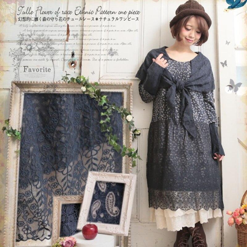 Harajuku Retro Mori Girl Dress Women Clothing Lace Patchwork Loose Irregular Splicing Floral Full Sleeved Vintage