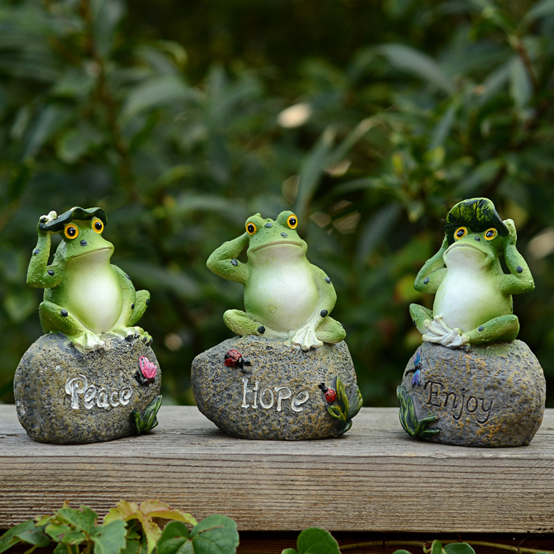 3pcs Lovely Resin Frog Sitting On Stone Statue Figurine Model Outdoor Decorative Home Garden Decor