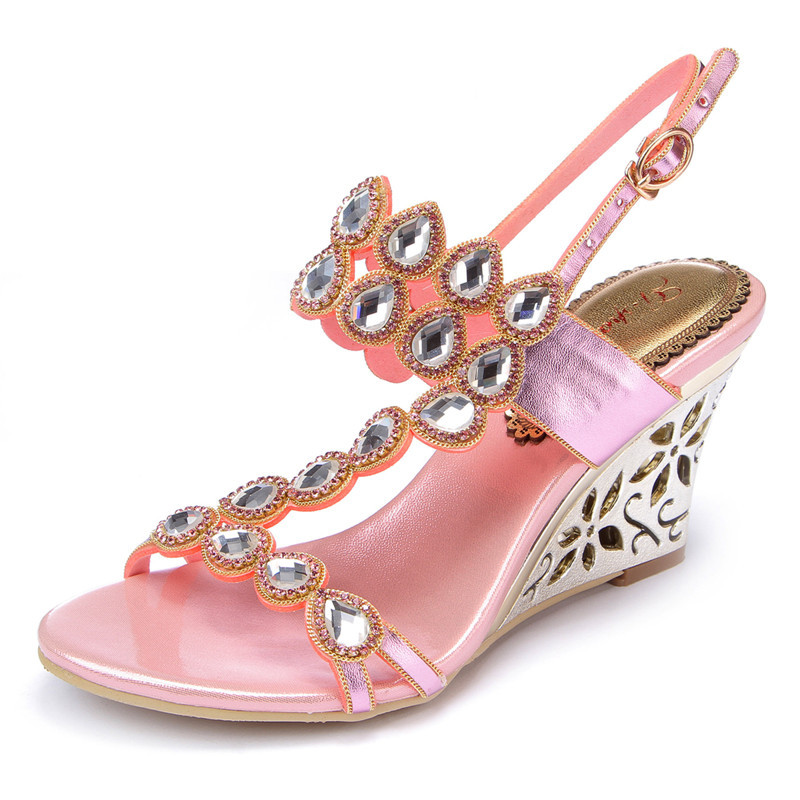 Pink Rhinestone High Heel Sandals wedges Summer 2017 Sexy Leather Diamond Fashion Slippers Female Rome Slides Shoes Women 2017 summer new women sandals slipper shoes fashion rhinestone thick high heel female slides snadals black plus size shoes xp35
