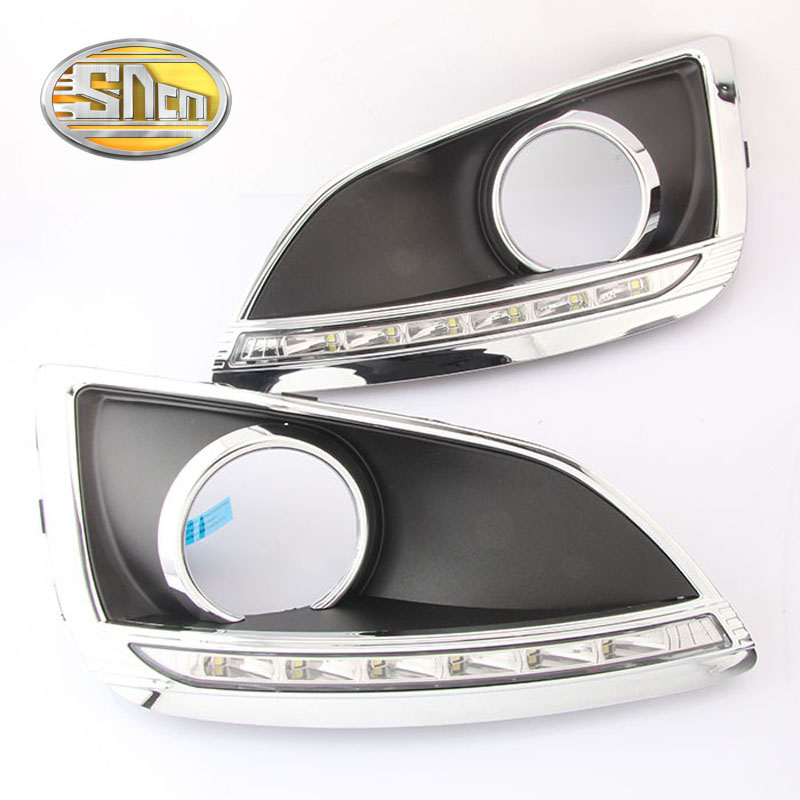 SNCN LED Daytime Running Light For Hyundai IX35 2010 2011 2012,Car Accessories Waterproof ABS 12V DRL Fog Lamp Decoration led drl daytime running lights for hyundai tucson ix35 2010 2011 2012 2013 with fog lamp light hole quality assured