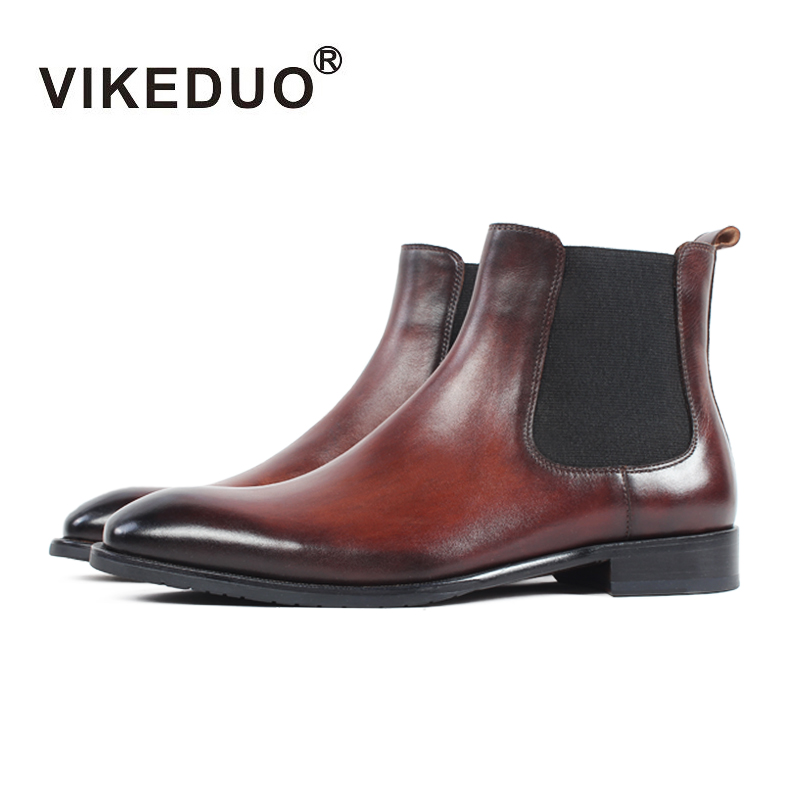 Vikeduo 2019 Vintage Winter Handmade Boots Classic Genuine Leather Slip-on Ankle Chelsea Boots Men Patina Bespoke Botas Hombre