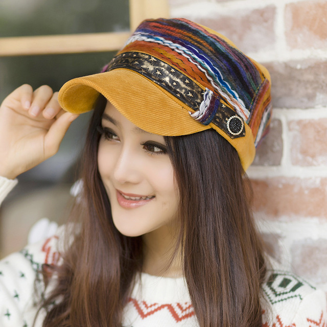 2d8872c5c0c55 New Fashion Women Cotton Star Belt Decoration Baseball Cap Casual Ladies  Visor Outdoor Thick Warm Autumn