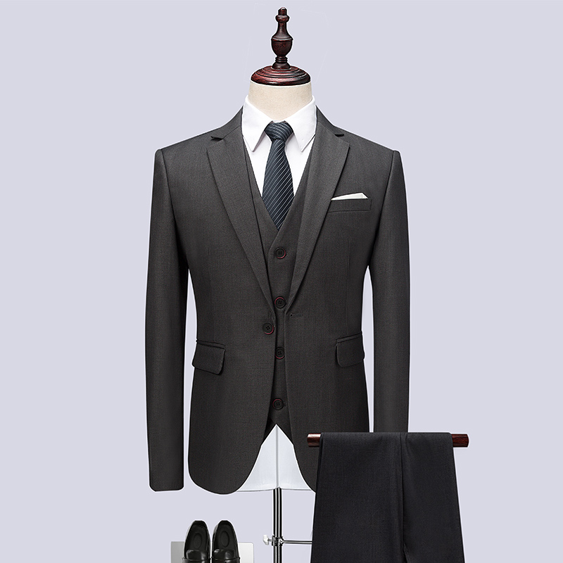 3PC High Quality Men Suit Brand Slim Fit Solid Gray Wedding Suits For Men Clothes 2018 One Button Party Dress Tuxedo Plus Size