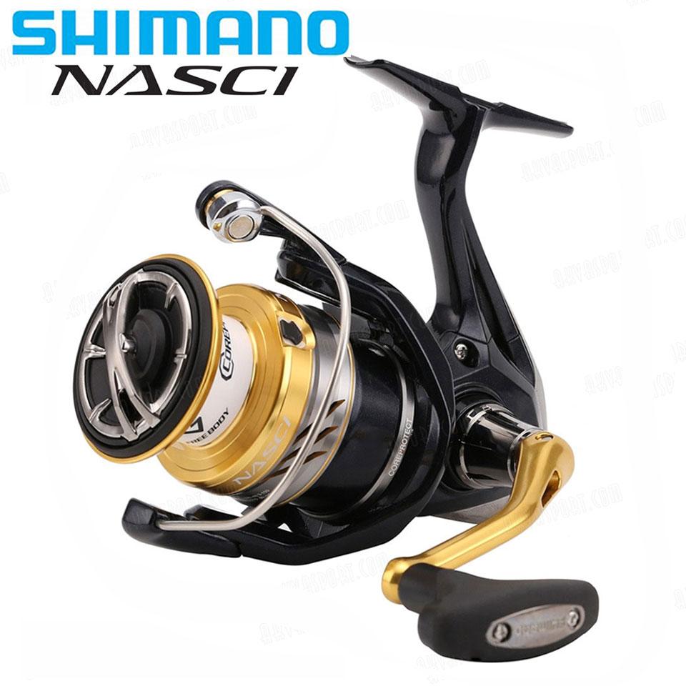 SHIMANO NASCI Spinning Angeln Reel 4 + 1BB Hagane Getriebe Größere Spool Kapazität Max 11 kg Drag X-Schiff saltewater Angelrollen