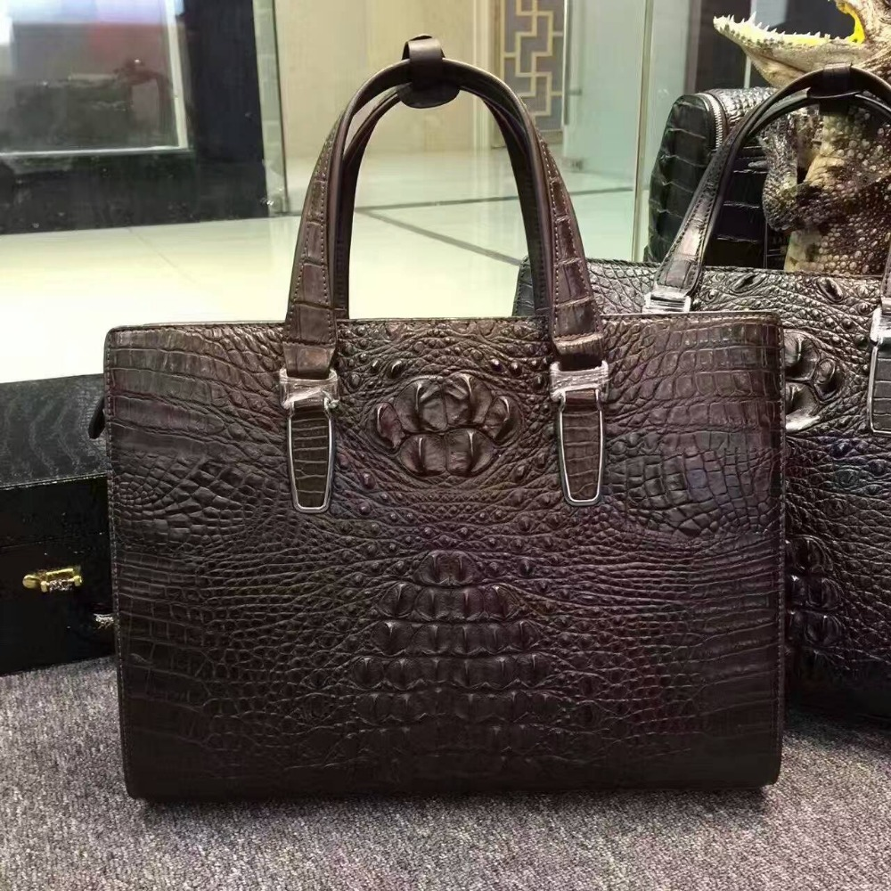 100% Genuine/Real Crocodile Skin Men Briefcase Laptop Bag, Top Luxury Quality Alligator Skin Men Business Bag Black Discounts