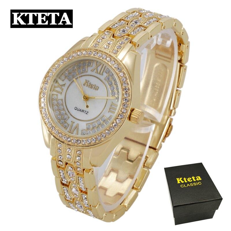 Bling Rhinestone KTETA Luxury Steel Quartz Watch Women Clock female Ladies Dress Wristwatch Gift Silver Gold 2017 Relojes Mujer цена 2016