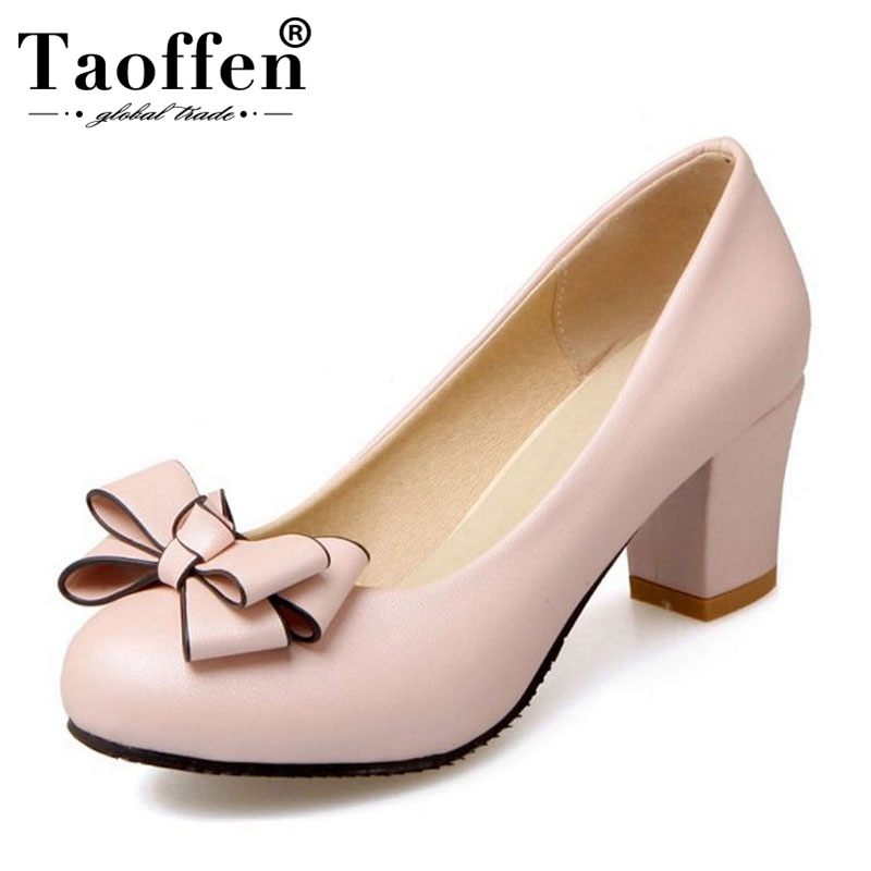 TAOFFEN Size 33-46 Women Round Toe Pumps Mixed Color Bowknot High Heels Shoes Women Concise Office Lady Daily Party FootwearTAOFFEN Size 33-46 Women Round Toe Pumps Mixed Color Bowknot High Heels Shoes Women Concise Office Lady Daily Party Footwear