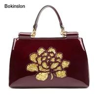 Bokinslon Leather Bags Woman Fashion Split Leather Women Handbags Bags Temperament Elegant Ladies Shoulder Bags