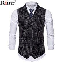 Riinr модный костюм жилет для мужчин Горячая Dot дизайн формальное платье качество без рукавов приталенный деловой пиджак жилет мужской