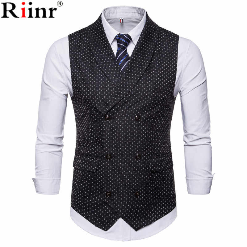 Riinr 2018 Fashion New Suit Vest Men Hot Sale Dot Design Formal Dress Quality Sleeveless Slim Fit Business Jacket Waistcoat Male