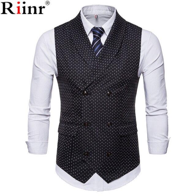 Riinr 2018 Mode Neue Anzug Weste Männer Heißer Verkauf Dot Design Formale Kleid Qualität Ärmel Slim Fit Business Jacke Weste männlichen