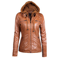 Womens Leather Jacket 2018 Autumn Winter Windbreaker Hooded Coat Plus Size Ladies Bomber Jacket Zipper Cardigan