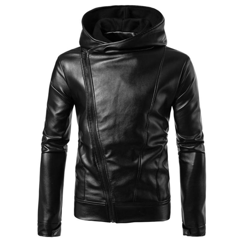 2018 nueva poliéster con capucha desmontable hombres moda motocicleta negro pu Faux chaqueta de cuero hombres casual biker cuero slim