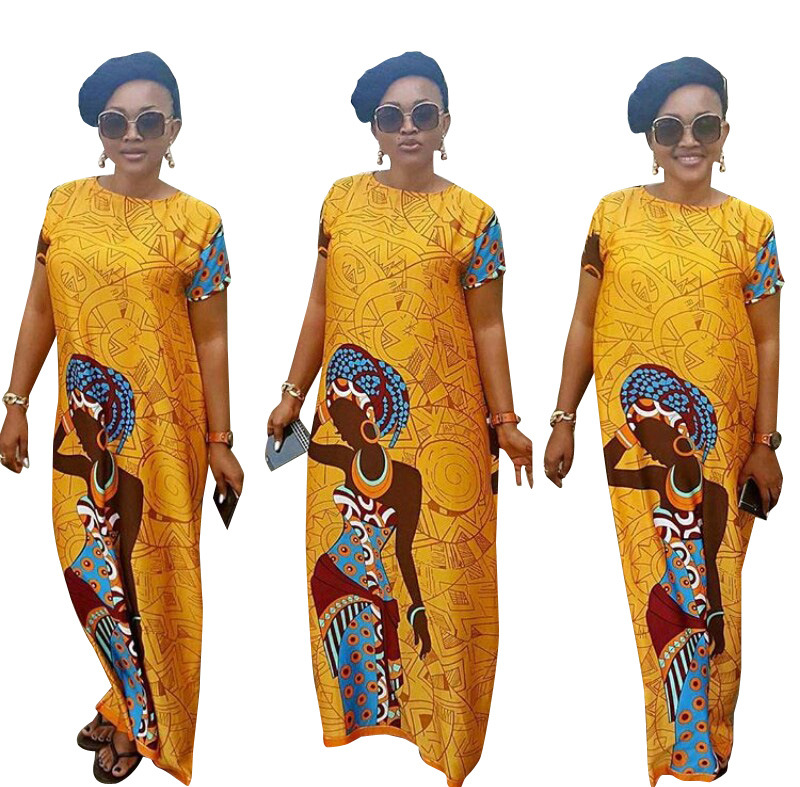 2019 New Arrival Fashion Style African Women Printing Plus Size Polyester Long Dress S-XXL