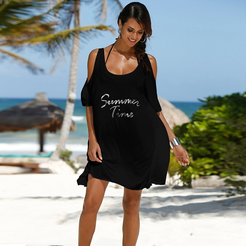 Women Sexy Out of Shoulder Beach Dress Letter Print Covers Up Black Bikini Bathing Suit Beach Wear Loose Swimsuit Cover up Tops