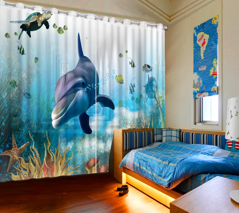 Photo curtains living room window ocean dolphin bedroom blackout curtains roman curtains for living room in Curtains from Home Garden