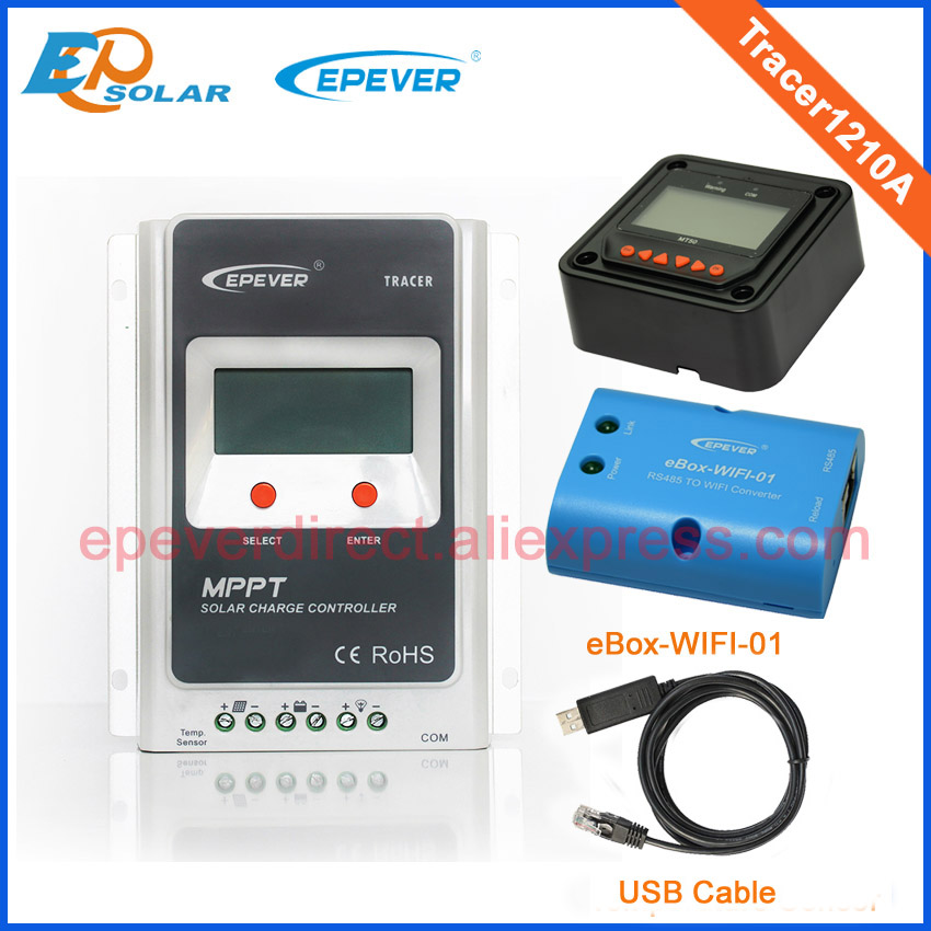 intelligent charge controller mppt tracer1210A 10A with wifi function BOX USB cable and MT50 remote meter 10AMP solar system solar charger 24v 12v auto work ls3024b 30a with wifi function box mt50 remote meter and usb cable free shipping