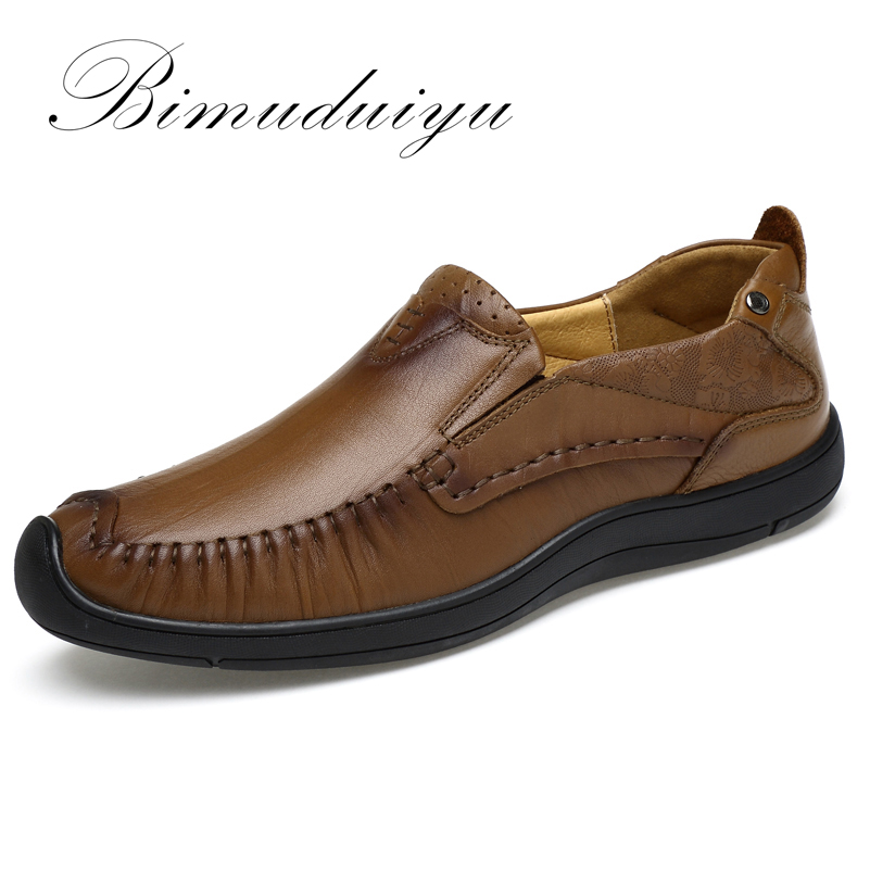 BIMUDUIYU Spring / Autumn Genuine Leather Business Casual Shoes Breathable Comfort Handmade Men's Driving Shoes Chaussure Homme 2017 spring autumn breathable white wild men casual shoes 100% handmade pigskin leather comfort men shoes high quality size40 44