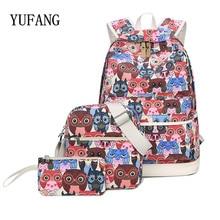 Yufang 3 шт./компл. рюкзак женщины с принтом Совы рюкзак холст Bookbags школьные рюкзаки сумки для подростков Girls Bagpack backbag