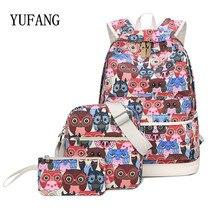 YUFANG 3 Pcs/Set Backpack Women Owl Printing Backpack Canvas Bookbags School Backpacks Bags For Teenage girls Bagpack Backbag