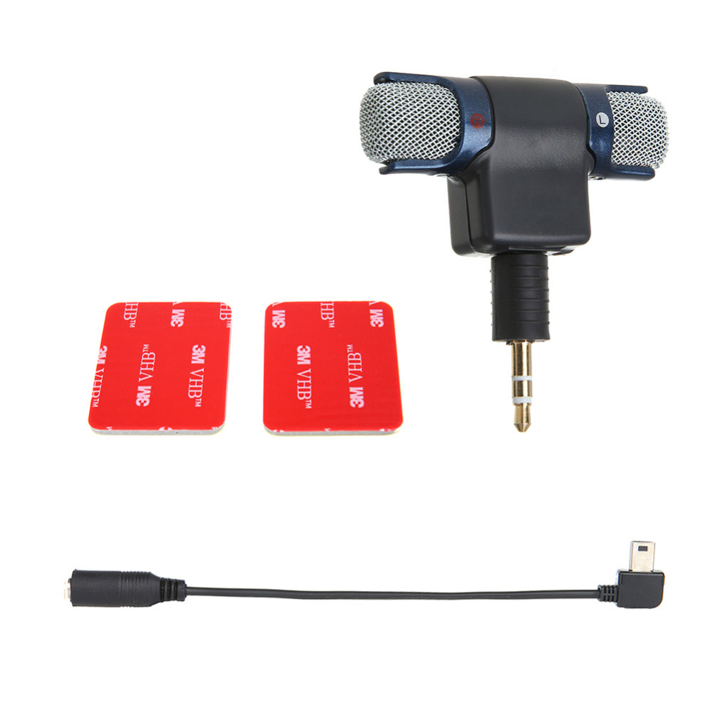 Externe Stereo Mic Mikrofon Mit 35mm Zu Mini Usb Micro Adapter Kabel Cable For Gopro Hero 3 Fr Plus 4 Aee Sporting Kamera In