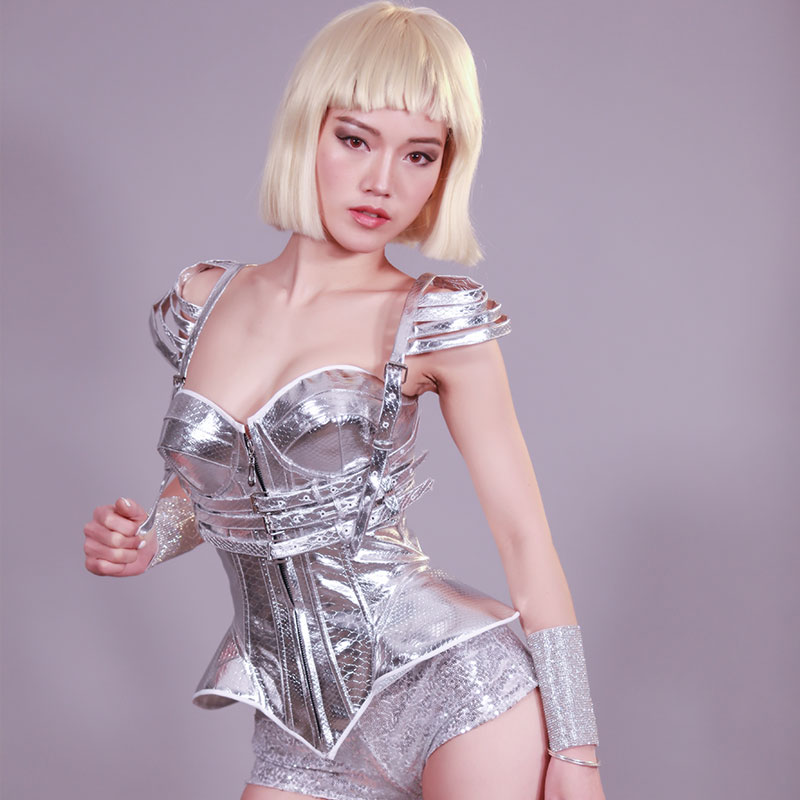 New Women Nightclub Costume Silvery Body Suit Evening Party Ds GoGo Dancer Dj Costume Singer Performance Costume Women VDB677