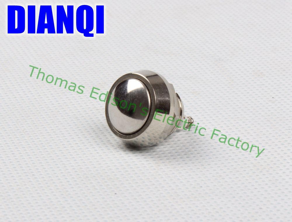12mm metal push botton waterproof nickel plated brass domed push button switch 1NO momentary reset screw terminal 12QX,F.KL 6 10 mm brass nickel plated m20 1 5 mm electric cable gland waterproof x 10