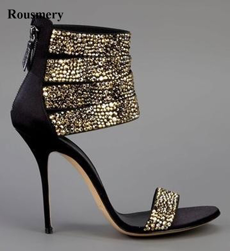 Summer Hot Sale Women Fashion Open Toe Bling Bling Gold Sliver Strap High Heel Sandals Ankle Wrap Gladiator Sandals Dress Shoes hot sale big size 30 46 fashion summer women gladiator shoes sexy open toe pu leather slip on high heel sandals chd 66