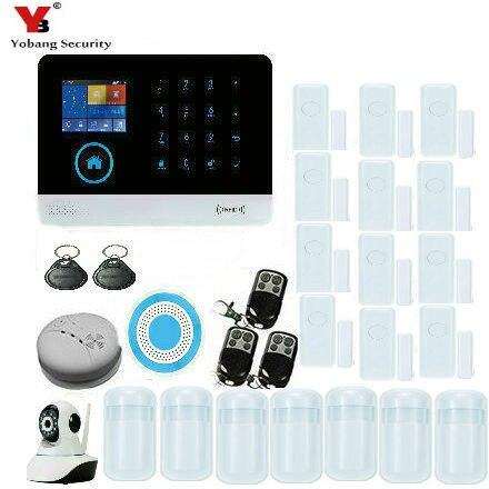 YobangSecurity WIFI GSM Burglar Alarm System IOS Android APP Control Detector Sensor Touch Keypad House Alarm System IP Camera