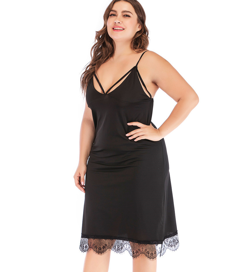 BLINGSTORY Deep V-neck Lace <font><b>Dress</b></font> Nightgown Plus Size <font><b>5XL</b></font> Sleeping <font><b>Sexy</b></font> <font><b>Club</b></font> <font><b>Dresses</b></font> image