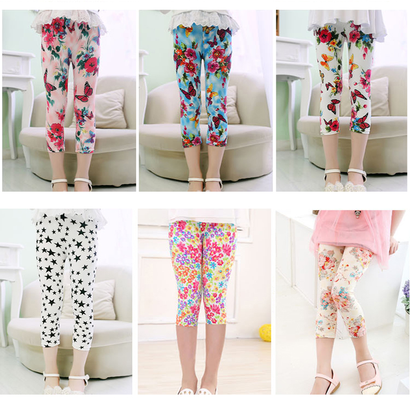 3-10years Girls Cropped Trousers Floral Print Flower Kids Calf Length Skinny Pants Stretch Leggings Children All-matches Bottoms 2