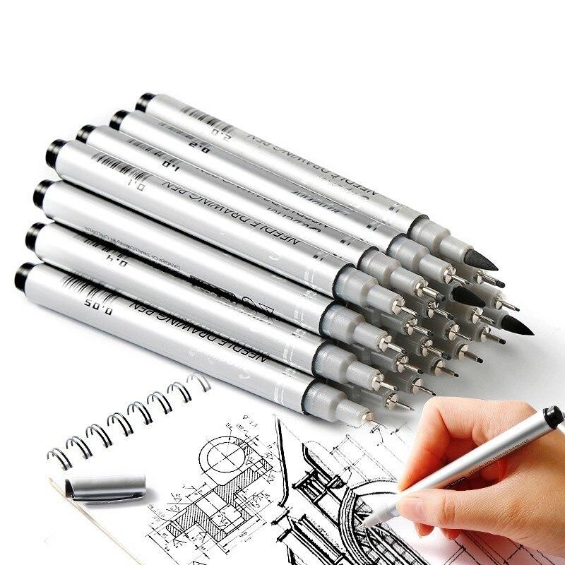 Caneta de agulha à prova dwaterproof água superior desenho dos desenhos animados esboço marcador pigma micron liner escovas gancho linha caneta para desenho arte suprimentos