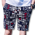 2017 Summer Floral Activo Hasta La Rodilla Pantalones Cortos Cortocircuitos de la Playa de Moda Casual Delgado Se Adapta Outwear Pantalones Cortos Bermuda masculina Masculina
